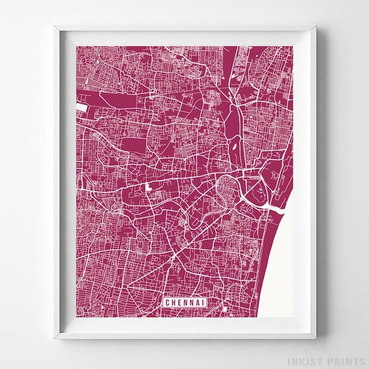 Chennai, India Map, Street Print, City Road Poster, Office