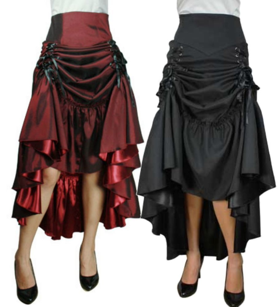 Damen Gothic Ruffles Rock Lang Vintage Steampunk Party Röcke Lolita Kleid Punk