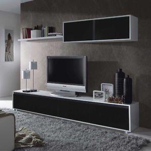 Mueble De Comedor Moderno Salon Completo Blanco Y Negro Brillo