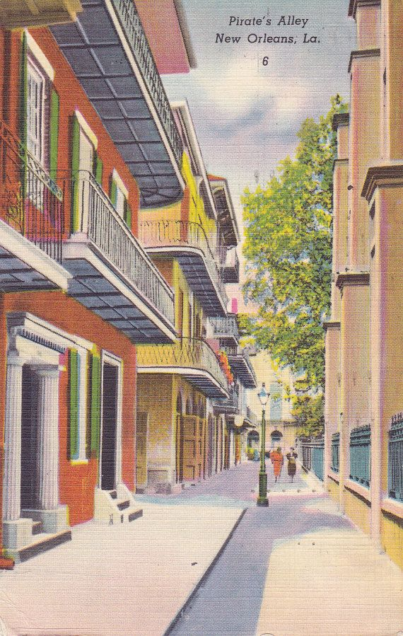 Pirate 39 s alley new orleans la 1950s vintage postcard for Tattoo shops french quarter new orleans