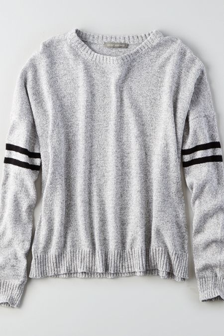 AMERICAN EAGLE OUTFITTERS DON T ASK WHY STRIPED-SLEEVE SWEATER ... 5384eec63982