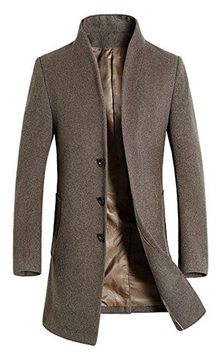 88c6b7a324a APTRO Men s Wool French Front Slim Fit Long Business Coat Camel US S APTRO  http
