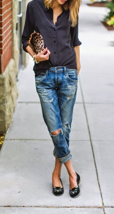 Pair your destroyed boyfriend jeans with a silk blouse for a perfect date night outfit. Don't forget to wear your favorite kitty cat flats.