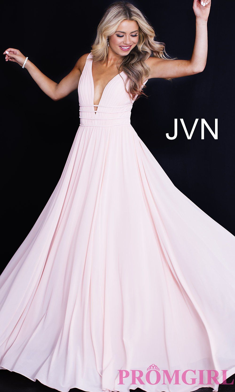 4d8646518ab JVN by Jovani Sleeveless Ruched V-Neck Prom Dress
