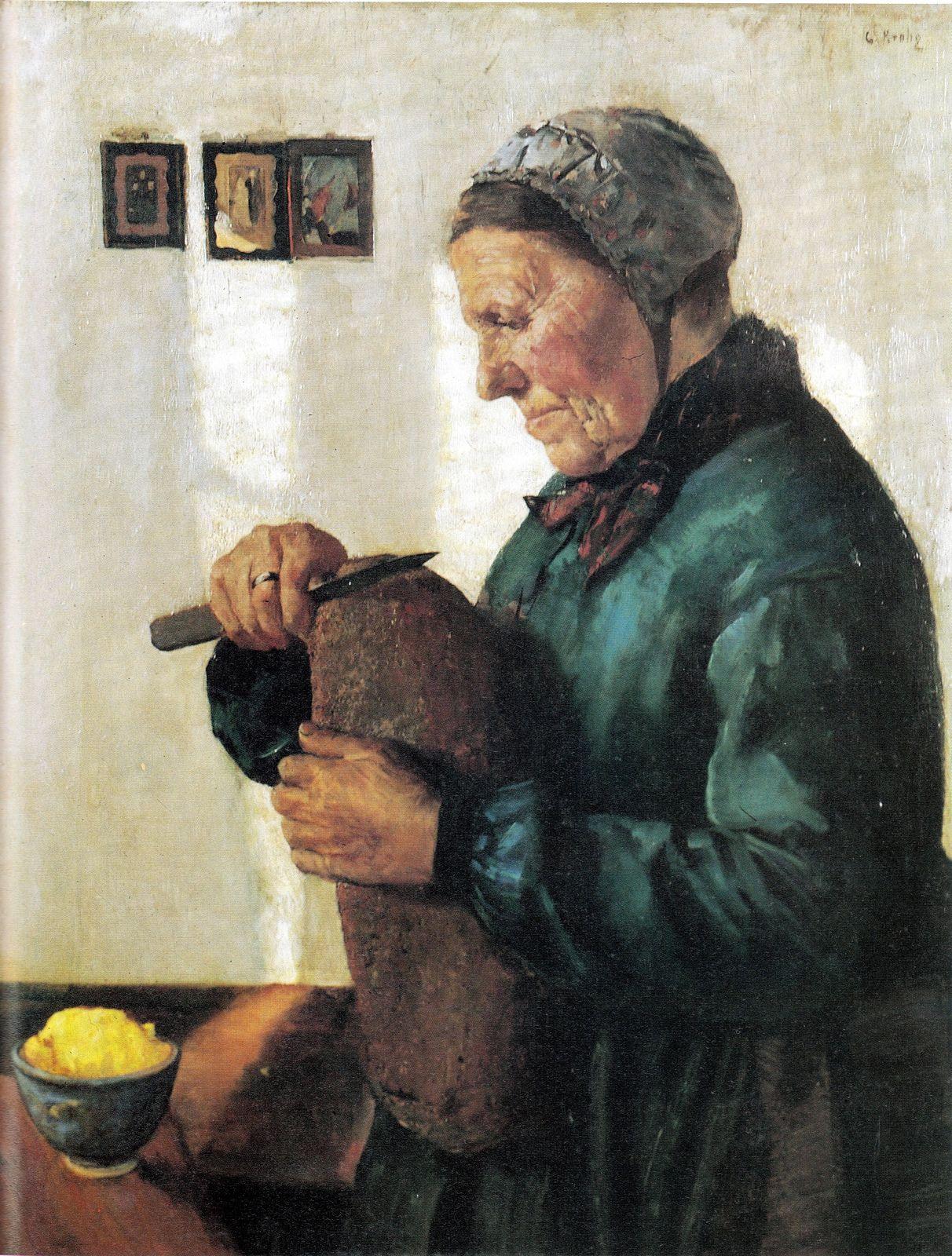 Krohg, Christian (1852-1925) - 1879 Wife Cutting Bread (Bergen Art Museum, Norway)