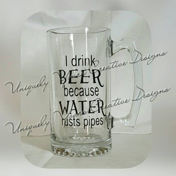 I Drink Beer Mug Dad Beer Mug Personalized Gift Glass