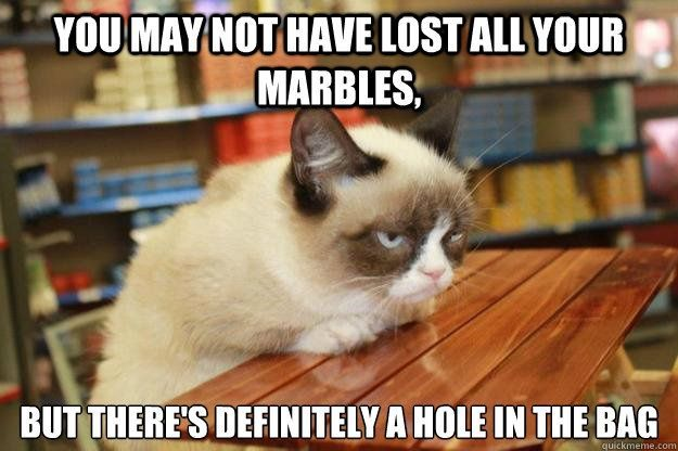 """Grumpy Cat says-""""You may not have lost all your marbles, but there's definitely a hole in the bag."""" :)"""