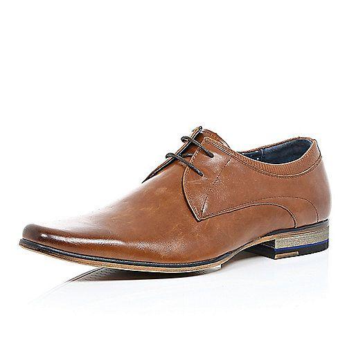 Brown leather colour block heel smart shoes - formal shoes - shoes ...