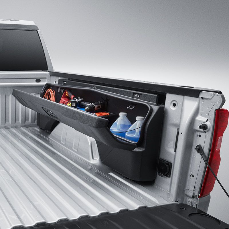 2019 Silverado 1500 Side Mounted Bed Storage Boxes Short Box Without Multipro Tailgate 84705350 Truck Bed Storage Truck Bed Storage Box Truck Storage