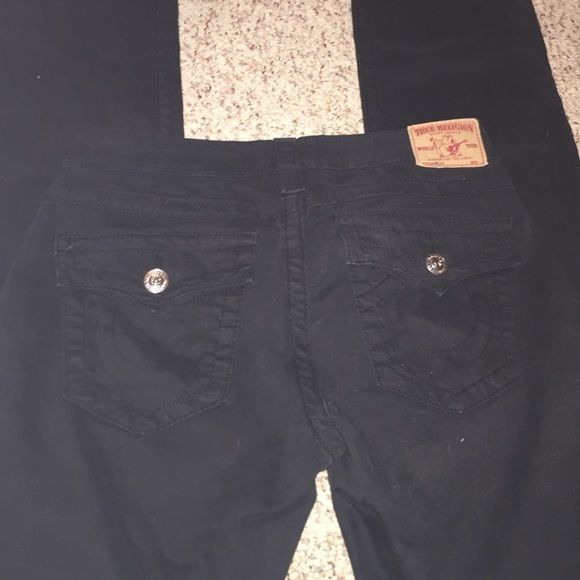 True Religion Billy black straight leg jeans 34 inseam. Worn once . True Religion Jeans Straight Leg