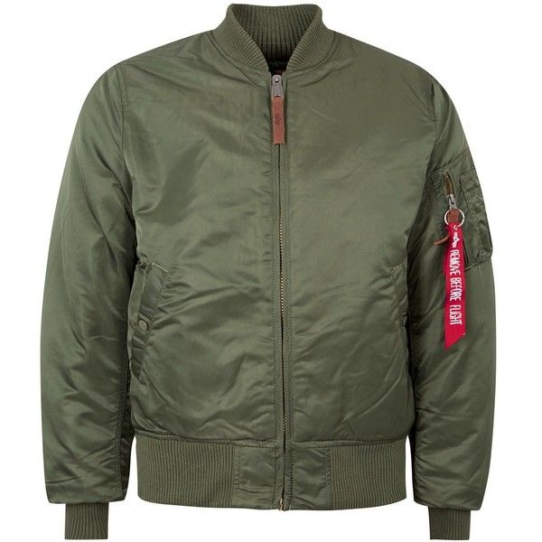 099866a92 Alpha Industries Army Green Satin Twill Bomber Jacket (355 SAR) ❤ liked on  Polyvore featuring outerwear