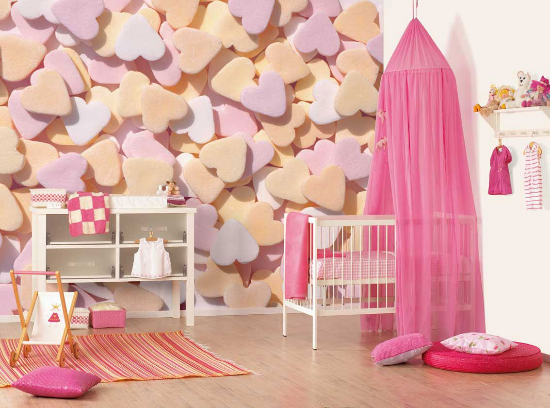 baby room cute baby girl nursery design ideas with heart relief wall design overlooking with small pink canopy crib with baby crib bedding impressive baby - Unique Baby Girl Nursery Ideas
