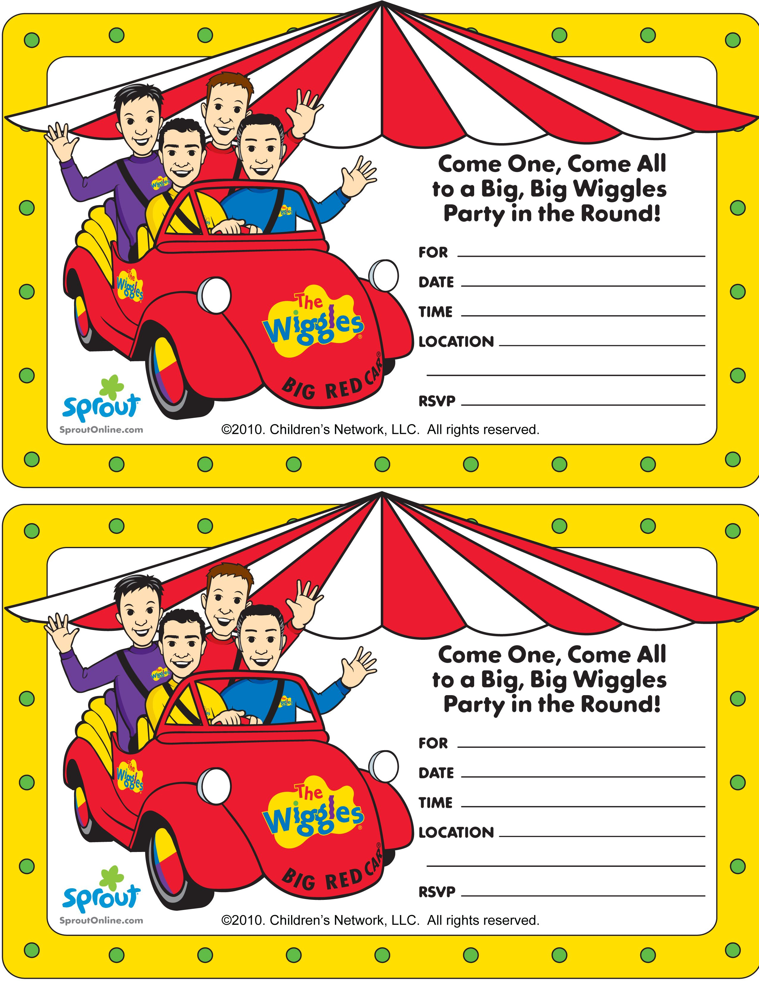 Wiggles Party Invitation Sproutonline Wiggles Party Circus