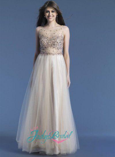 LJ14097 sexy nude color sparkles tulle celebrity prom dress |LJ14097| :
