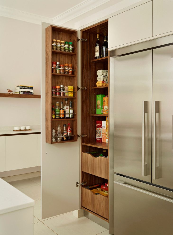 kitchen cabinets bespoke fulham pantry by roundhouse in bespoke urbo handleless matt lacquer kitchen in farrow ball skimming stone and book matched