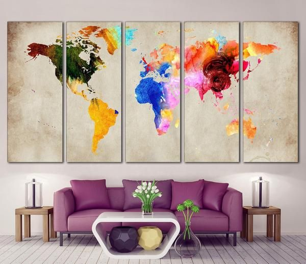 Colorful world map 870 canvas print canvas print zellart canvas colorful world map 870 canvas print canvas print zellart canvas arts interiors room and house gumiabroncs Gallery