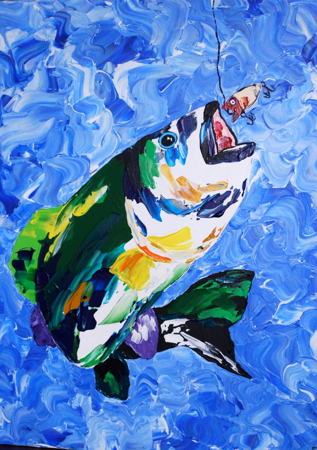 Colorful bass fish 16x20 acrylic pallet knife painting on for Bass fish painting