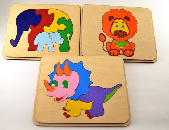 Set of Dinosaurs Wooden puzzle and Lacing Toy Wooden toy Motor skills toy Occupational Therapy Sensory toy Baby Gifts Toddler toy Travel toy
