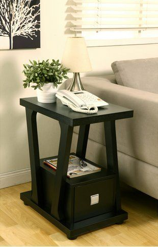 Furniture Of America Naudine 1drawer Contemporary Black Living Room Sofa End Table Narrow Side Black End Tables Living Room End Tables End Tables With Drawers