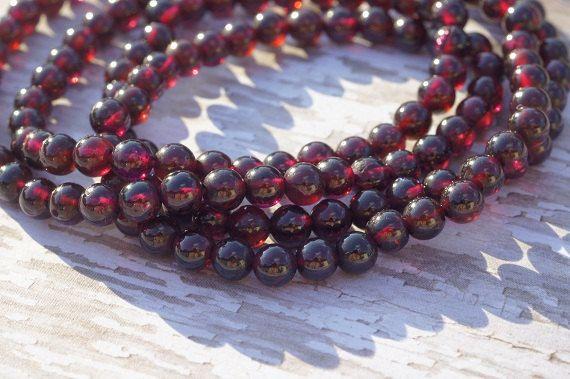 Red Garnet Natural Gemstone Bead Strand Round by Dwaynescabochons, $10.85