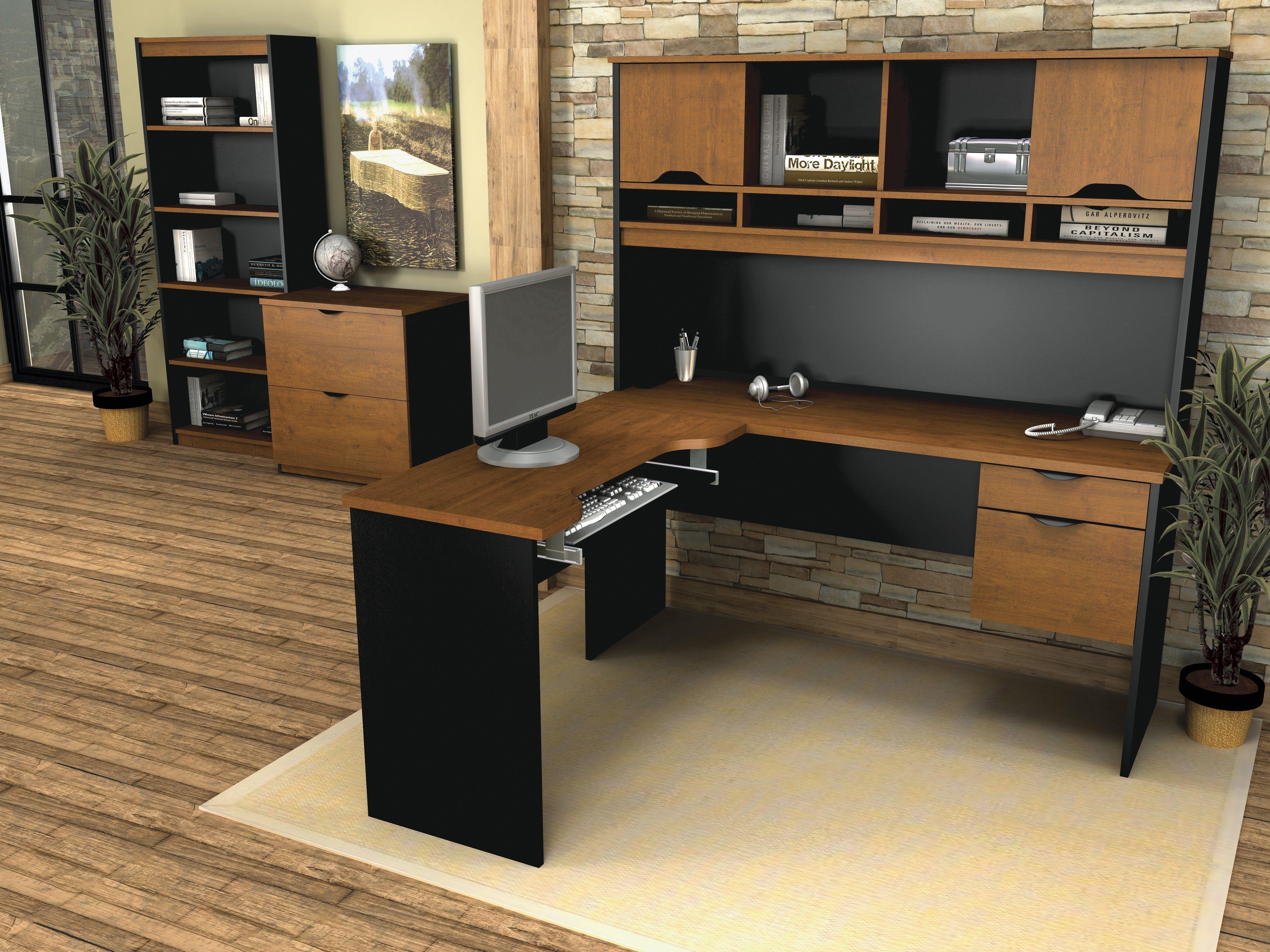 Innova Tuscany Brown Black L Shaped Workstation Set Computer