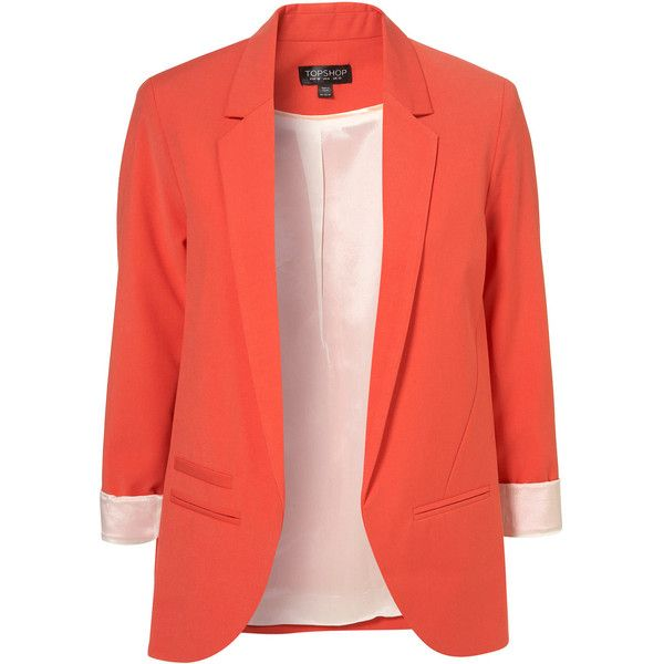 Tangerine Boyfriend Blazer (180 AUD) ❤ liked on Polyvore featuring outerwear, jackets, blazers, tops, red boyfriend jacket, red boyfriend blazer, boyfriend blazer, tangerine jacket and red jacket