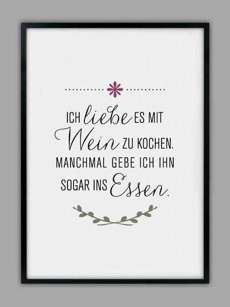 Mit Wein Kochen Kunstdruck Küchen Poster Kitchen Poster
