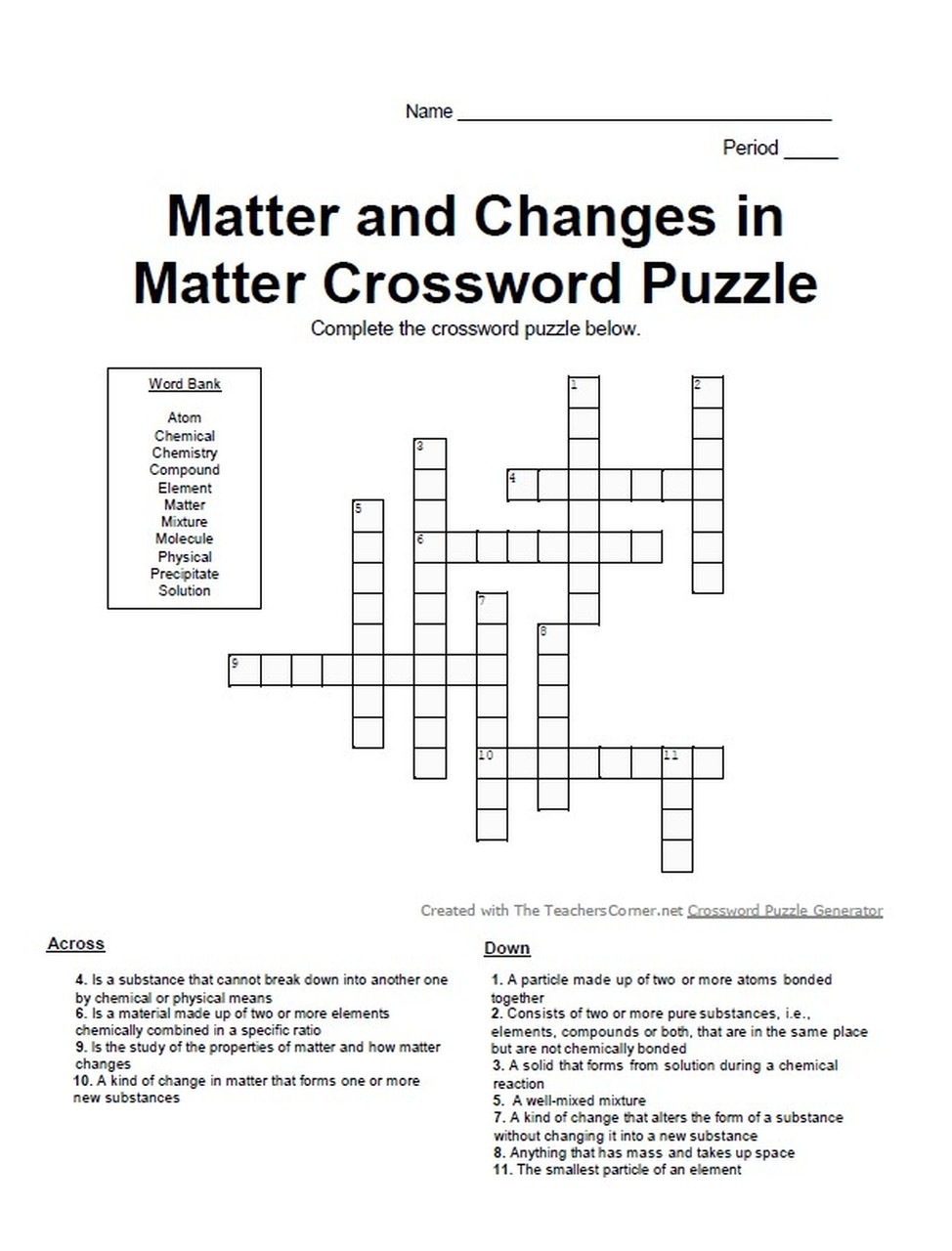 Introduction To Chemistry Matter And Changes In Matter Crossword Puzzle Changes In Matter Crossword Puzzle Chemistry