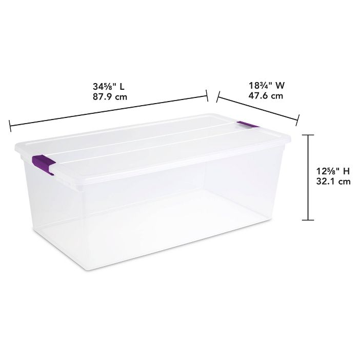 Sterilite 110qt Clear View Storage Bin With Latch Purple Storage Bin Storage Sterilite