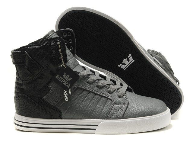 Justin Bieber Supra Skytop Shoes Black Gray White