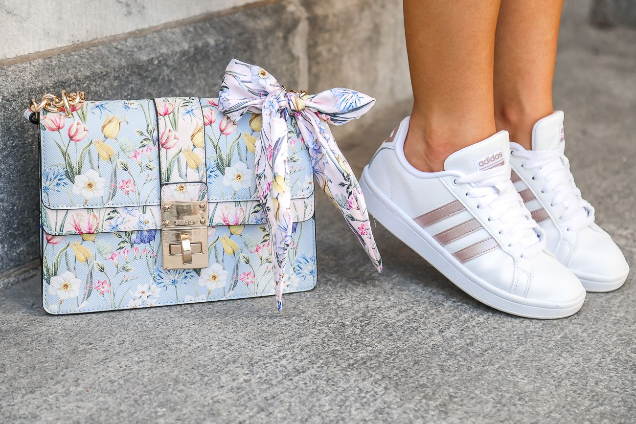 Casual Summer Outfit Rose Gold Adidas Cloudfoam Advantage