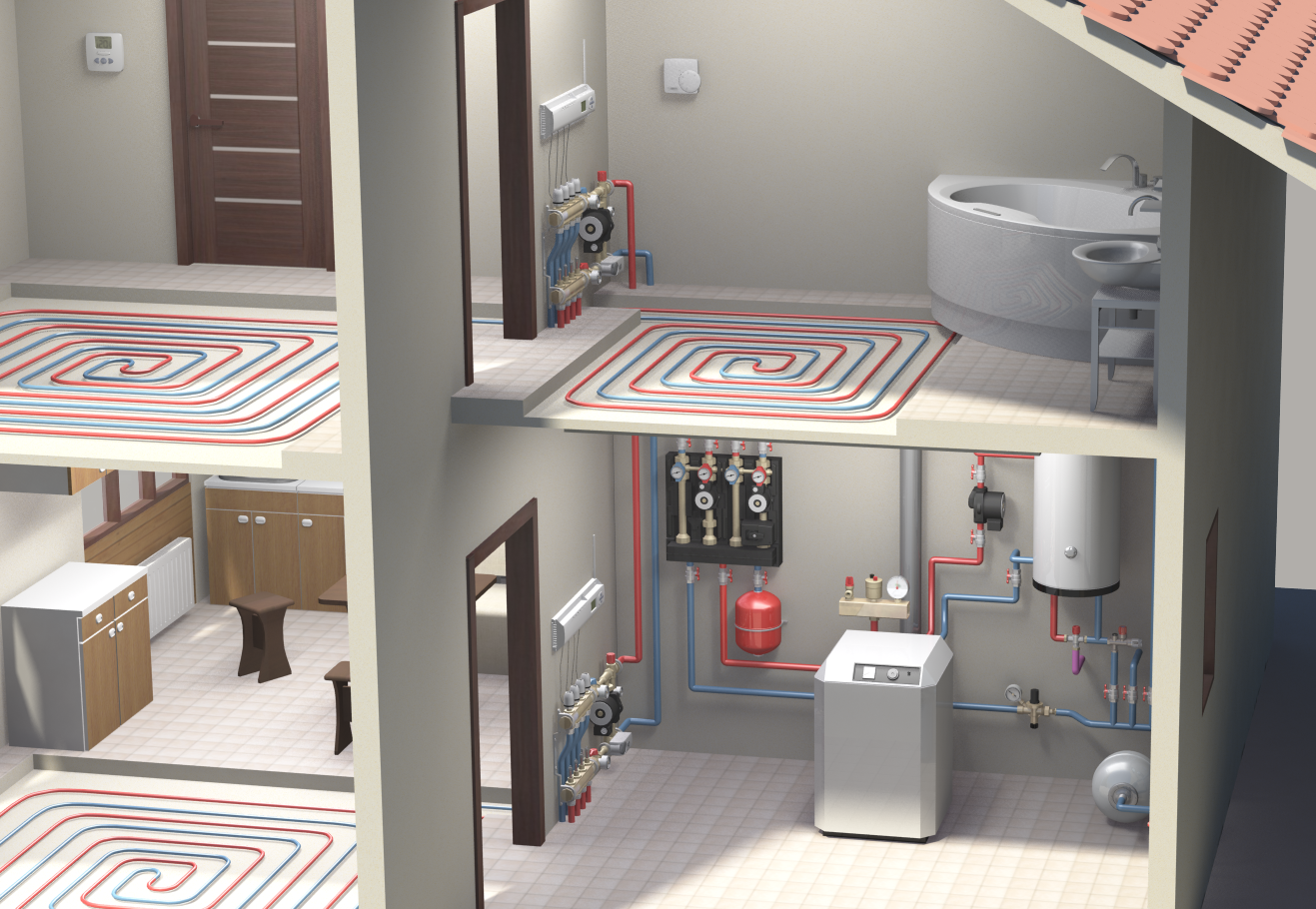 modelling and rendering a set up for watts in house heating system - Home Heating Systems