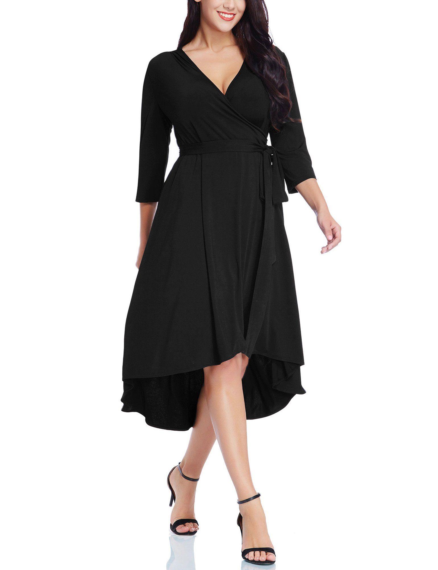 Ackkia Womens Casual Plus Size V Neck 3 4 Sleeve High Waist Hi Low Drape Flowy Flared Assymetrical Midi Work Gathered Maxi Dress Wrap Dress Fit And Flare Dress [ 2000 x 1539 Pixel ]