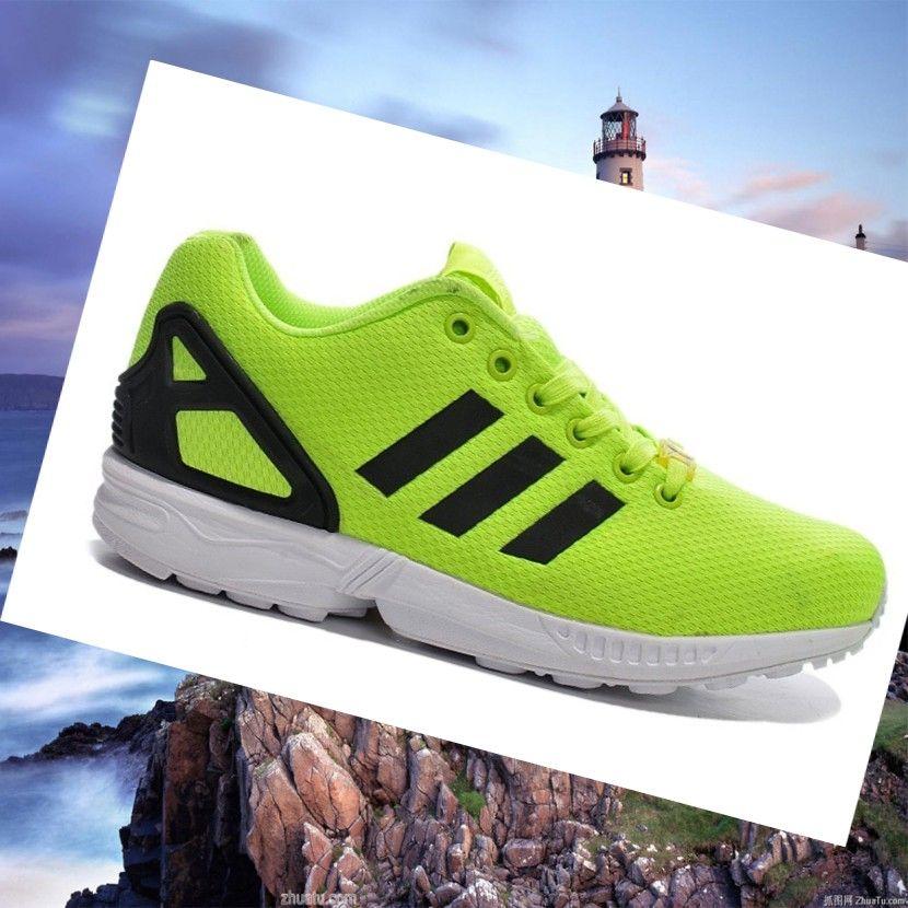 Neon-Green/Black Women's Adidas Zx Flux Sneakers,Fashion sneakers let  sports distinctive.