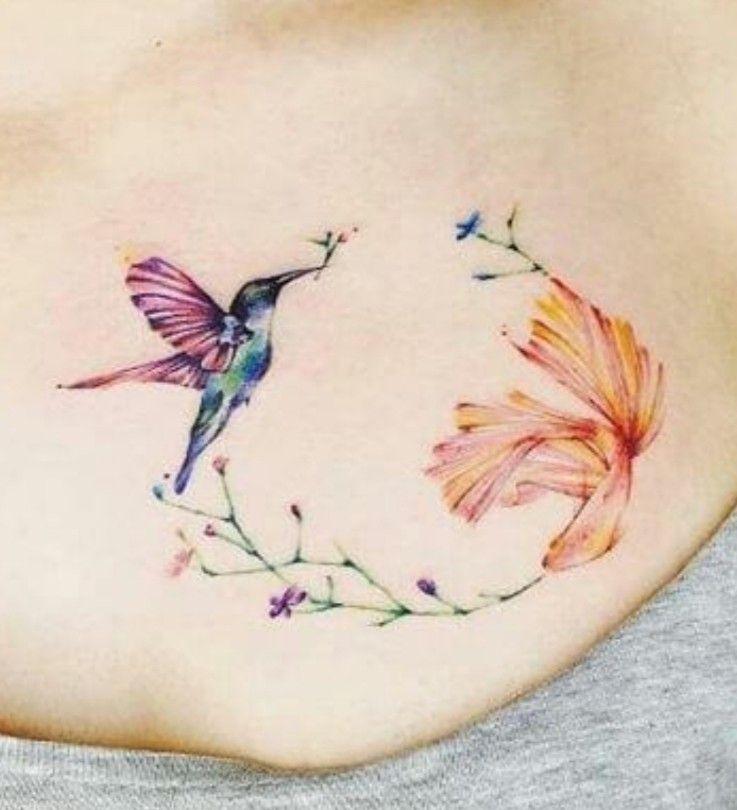 Pin by Dawn Hall on GB tatoos Hummingbird flower tattoos
