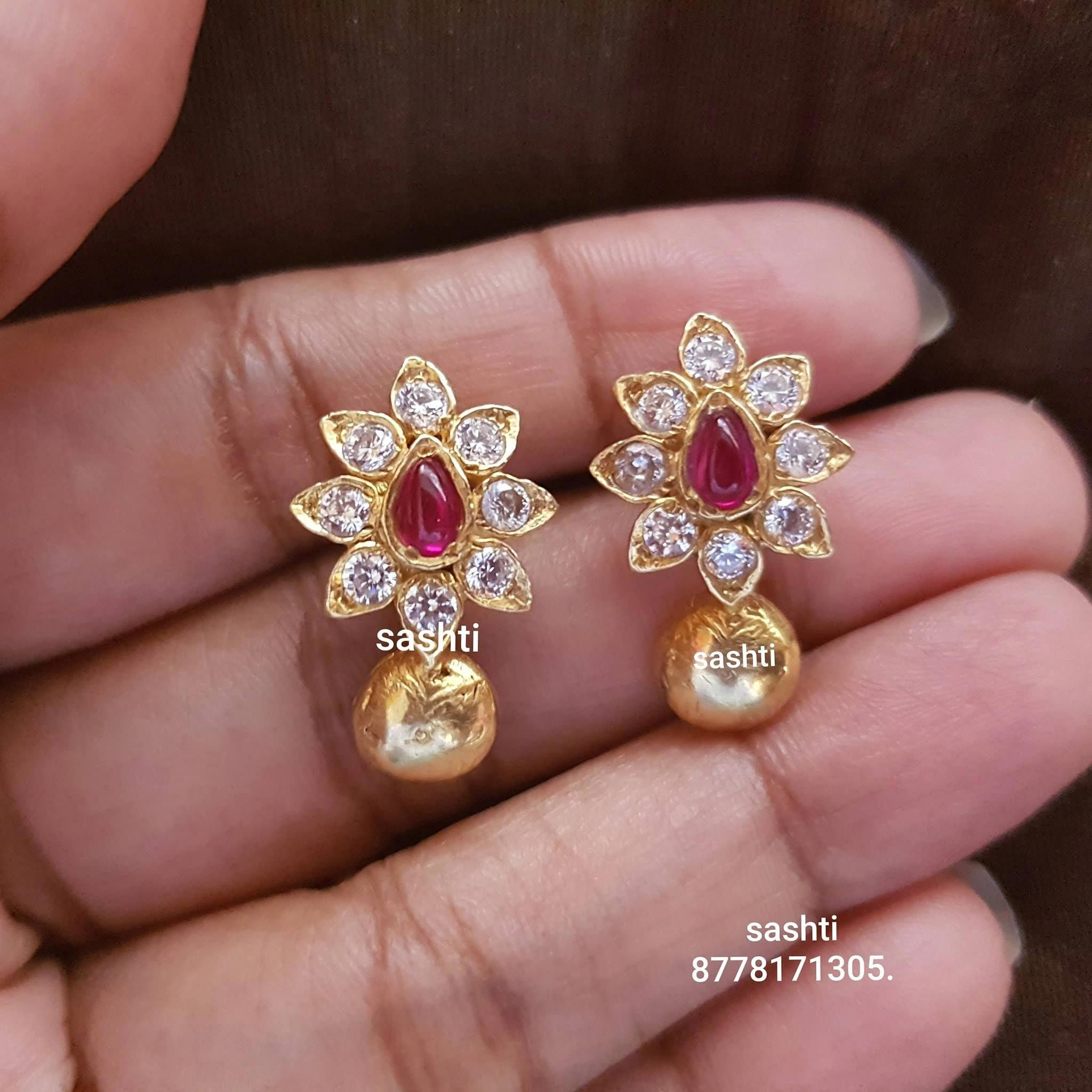 Pure Silver Jewellery With 24carat Gold Polish Earrings With Flower Design Whats App 91 8778 Gold Jewelry Fashion Gold Earrings Designs Gold Pendant Jewelry