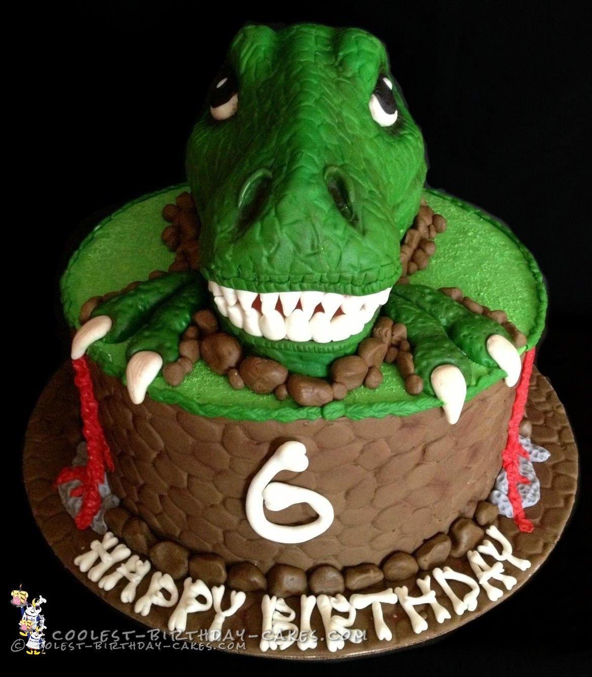 Awesome TRex Dinosaur Birthday Cake Dinosaur birthday cakes