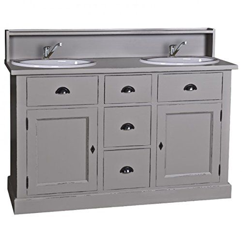 Casa Padrino Landhaus Stil Waschschrank Waschtisch Inkl 2 Waschbecken Mit  Schubladen Und Schranktüren   Bad Schrank