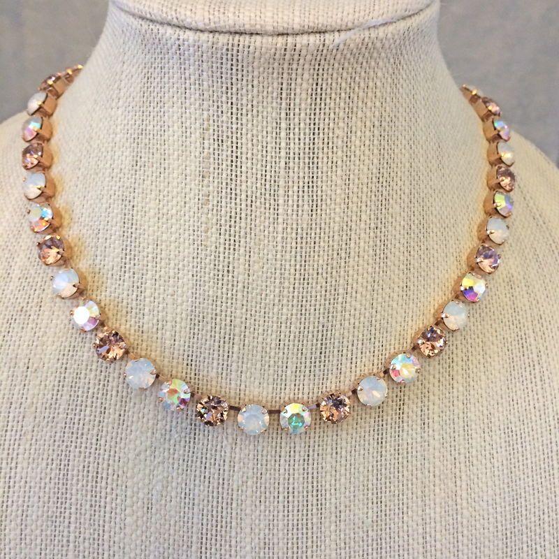 Rose Gold Vintage Rose Opal Bridesmaid Necklace Swarovski crystal