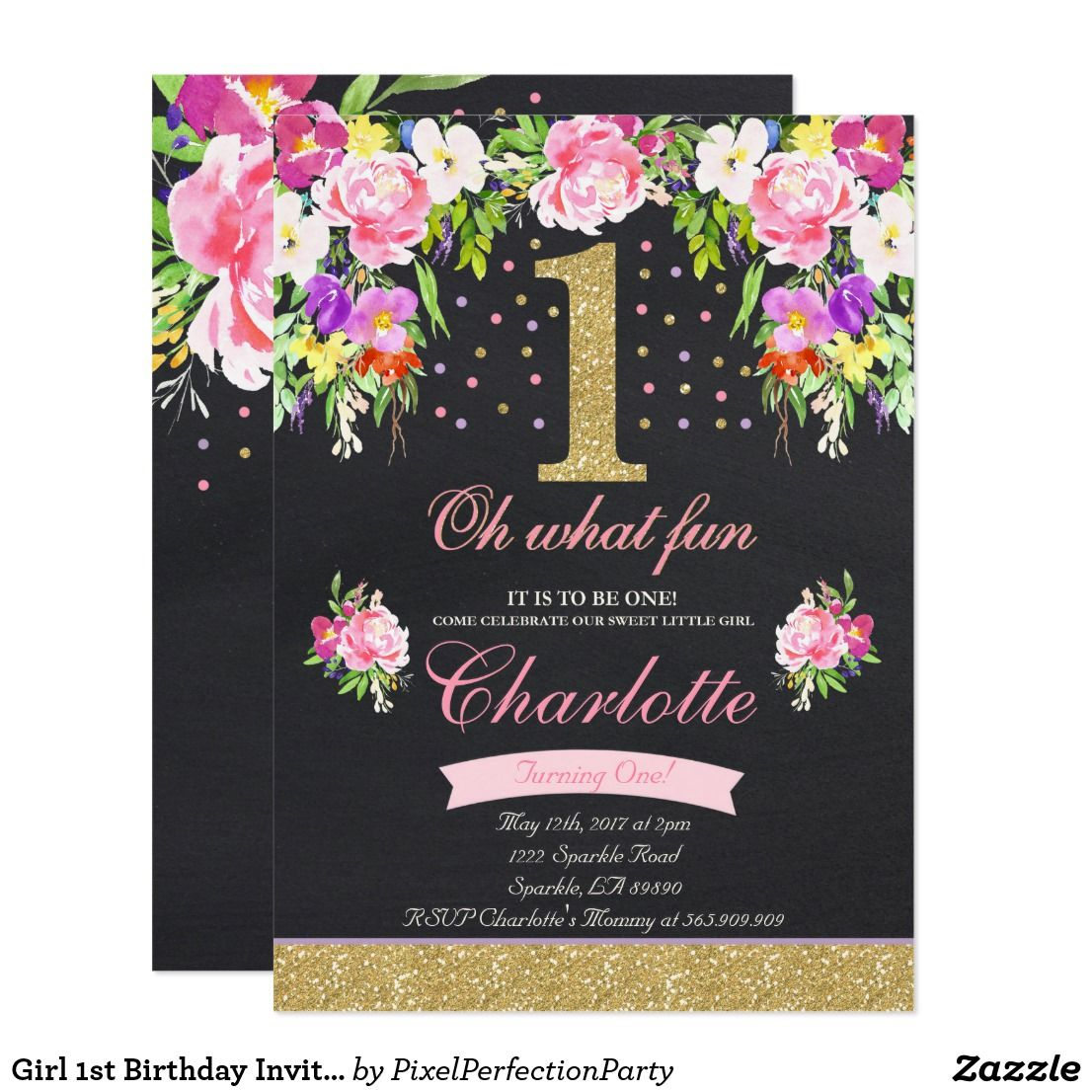 Girl 1st birthday invitation floral pink gold floral 1st birthday girl 1st birthday invitation floral pink gold floral 1st birthday invitation a perfect way to filmwisefo Choice Image