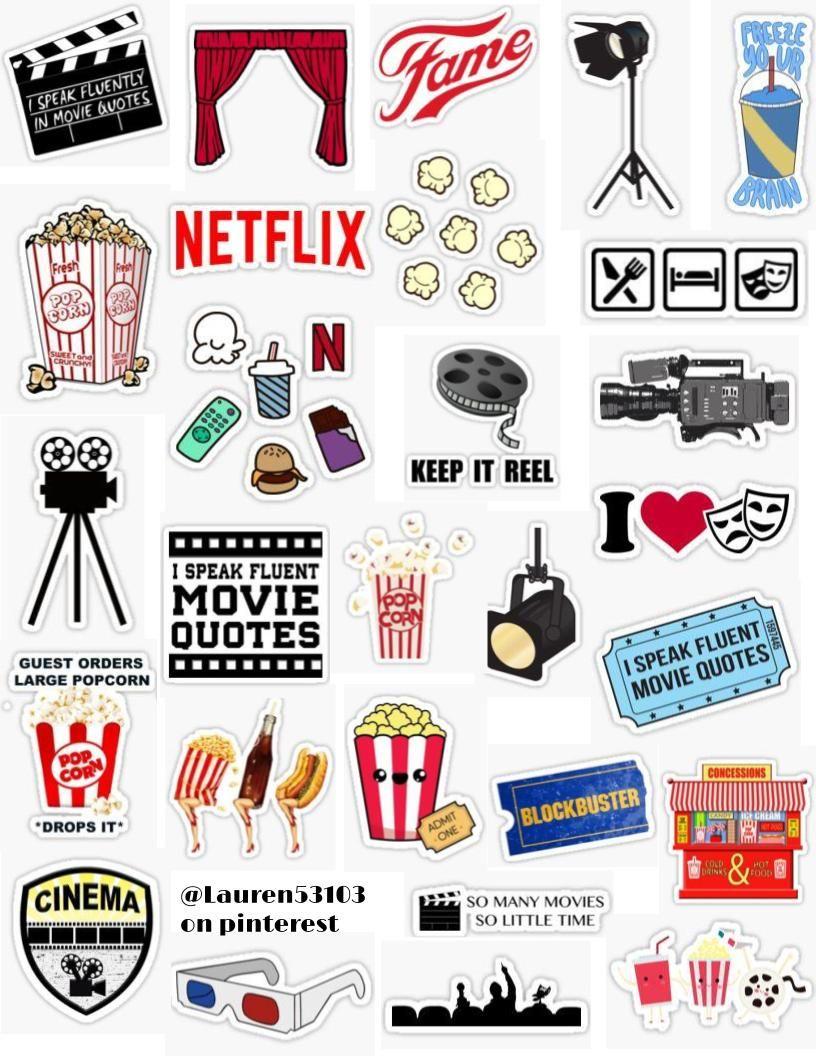 Movie Sticker Pack Sticker By Lauren53103 Hydroflask Stickers Aesthetic Stickers Movie Party