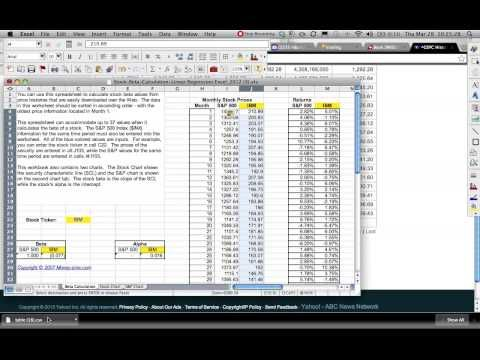 Linear Regression Returns Relationship between a Stock and the