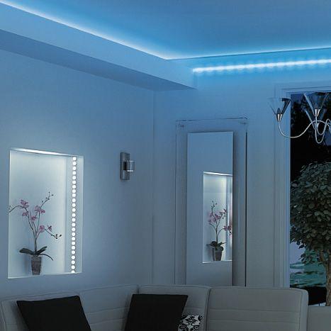 fabulous beautiful kit ruban led m bleu castorama with ruban led salon with corniche lumineuse. Black Bedroom Furniture Sets. Home Design Ideas
