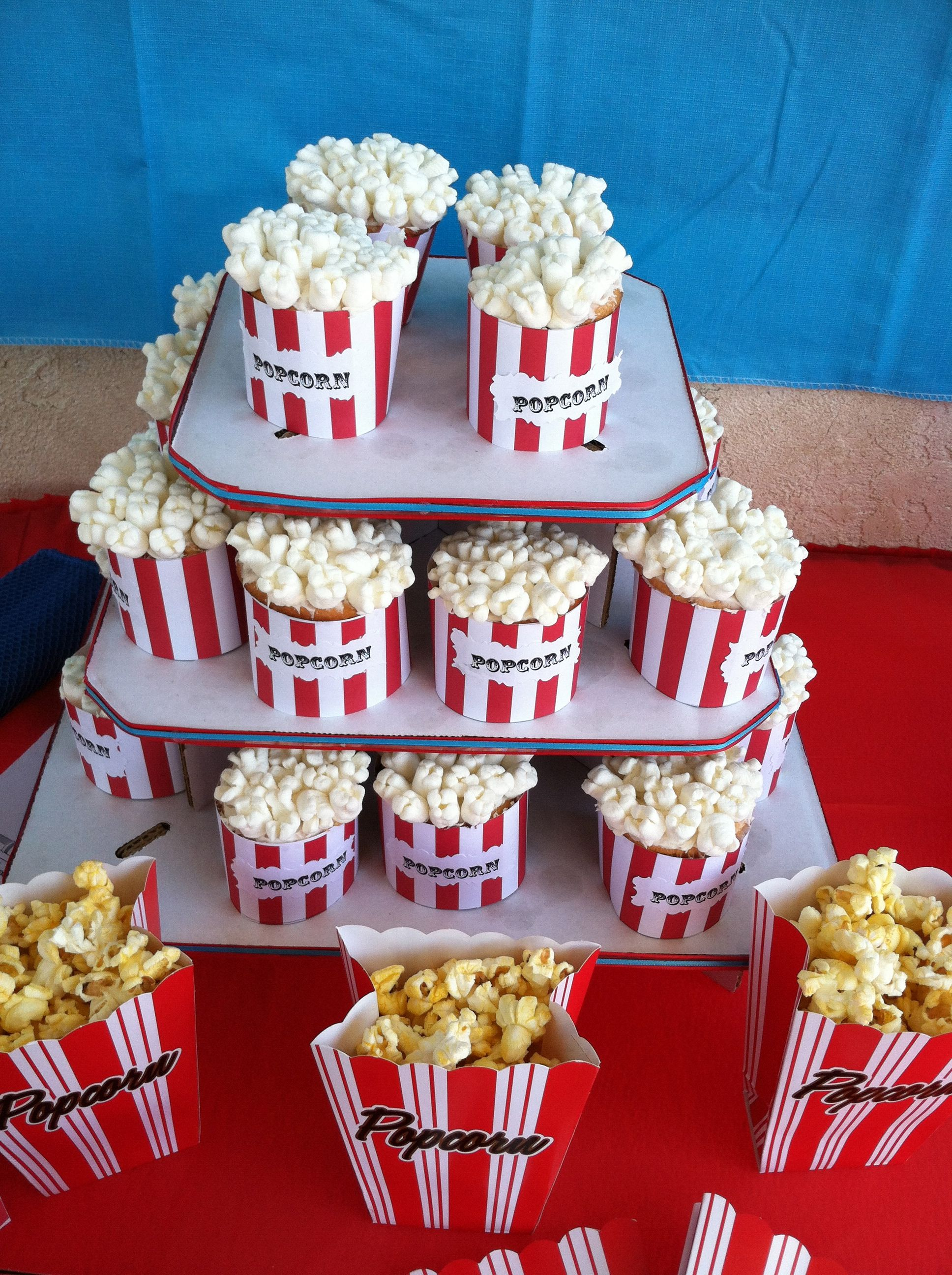 marshmallow cupcakes made to look like popcorn