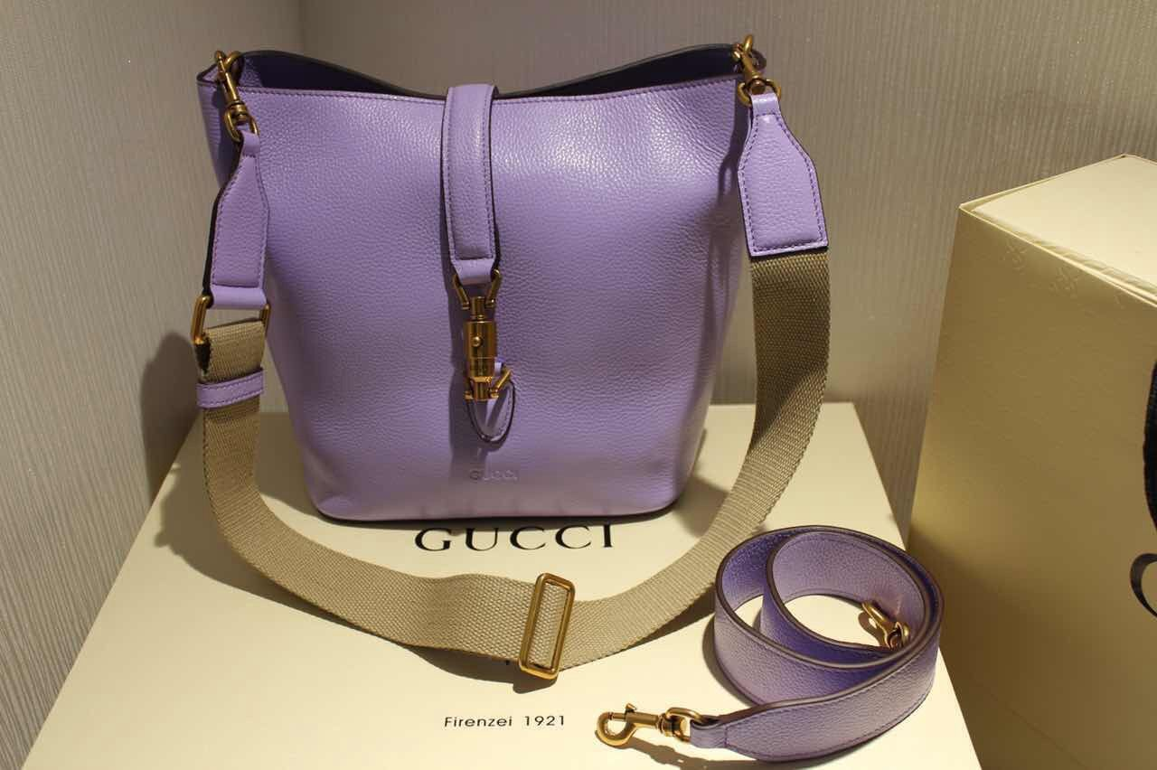 cab49ad6edca Gucci Jackie Soft Leather Bucket Bag 380579 Lavender 2015