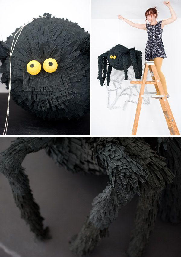 Piñata de araña DIY spider | Más info e ideas para #Halloween en ►http://trucosyastucias.com/decorar-reciclando/decoracion-halloween-casera #manualidades #decoracion