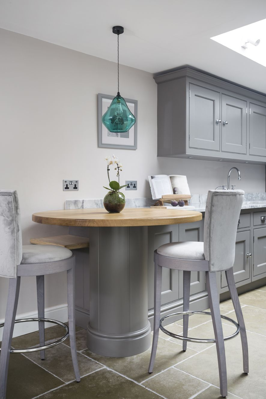 This Beautiful Curved Breakfast Bar Has A Solid Oak Top Which Contrasts With The Cabinetry To Enhance E In Galley Kitchen