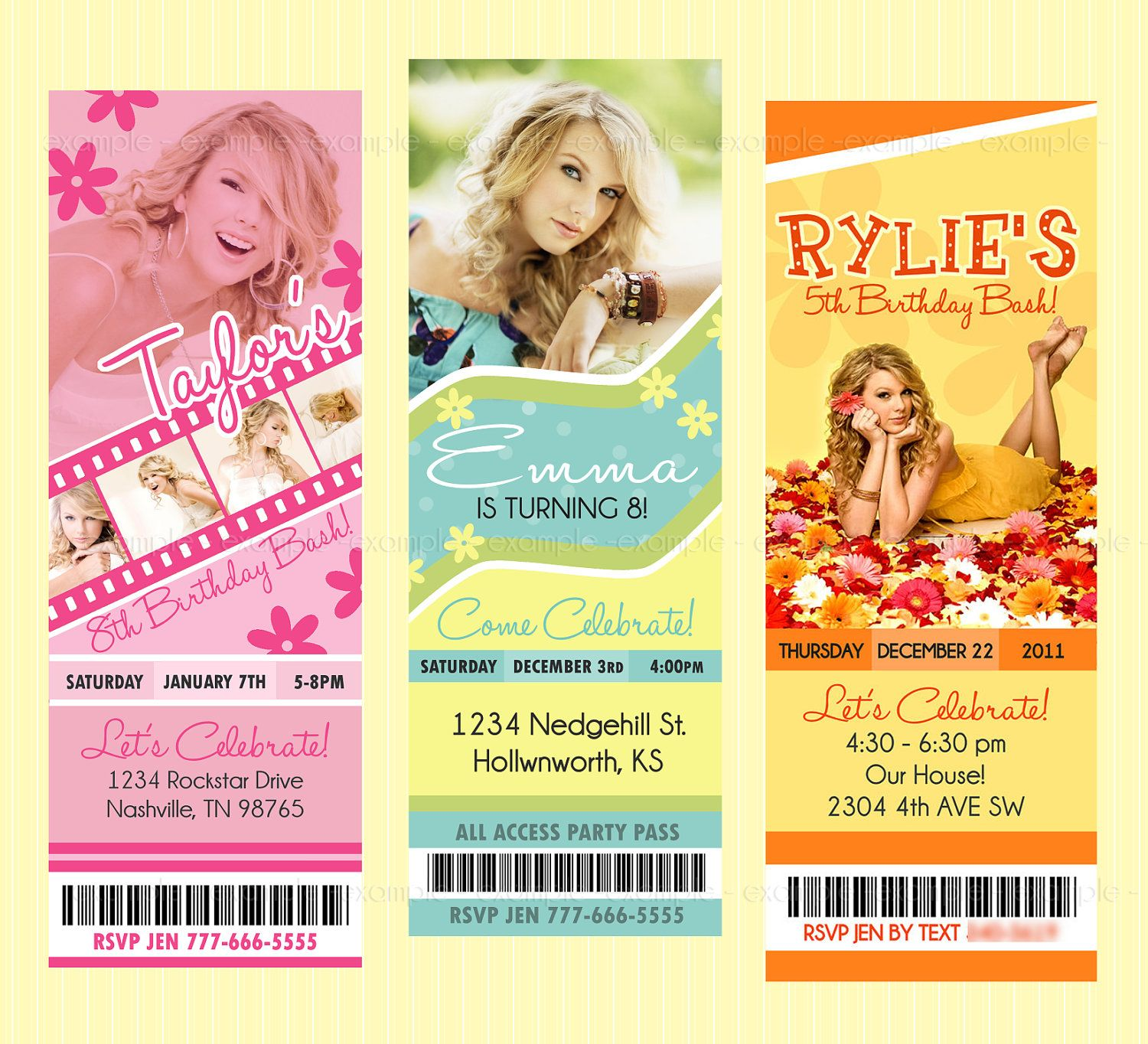 Taylor Swift Ticket Style Birthday Invites by BriezeesBoutique ...