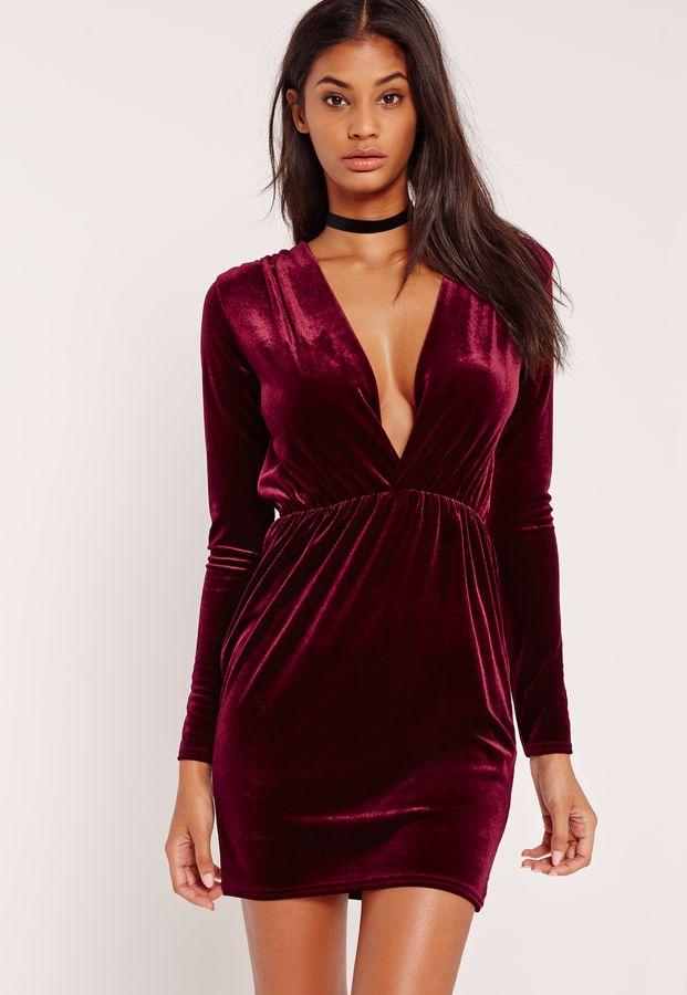 Long Sleeve Plunge Ruched Waist Velvet Dress Burgundy Long Sleeve Plunge Dress Plunging Neck Dress Burgundy Velvet Dress