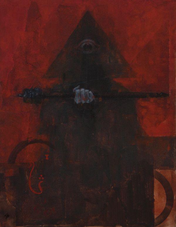 The Magician by Samuel Araya #red #painting #dark